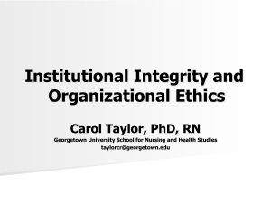 Institutional Integrity and Organizational Ethics