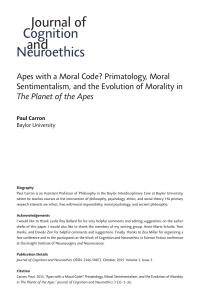 Apes with a Moral Code? Primatology, Moral Sentimentalism, and