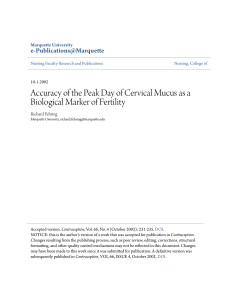 Accuracy of the Peak Day of Cervical Mucus as a