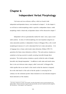 Chapter 6 Chapter 6 Independent Verbal Morphology Independent