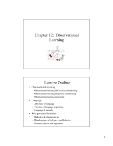 Chapter 12: Observational Learning Lecture Outline