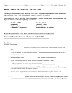 Biology I Semester 1 Quarter 1 Exam Study Guide 2014-10