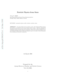 Particle Physics from Stars