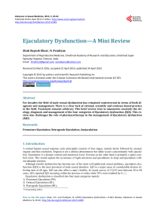 Ejaculatory Dysfunction—A Mini Review