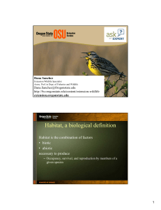 Habitat, a biological definition - Oregon State University Extension