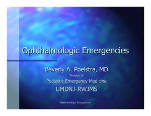 Ophthalmological Emergencies