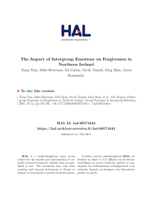 The Impact of Intergroup Emotions on Forgiveness in Northern