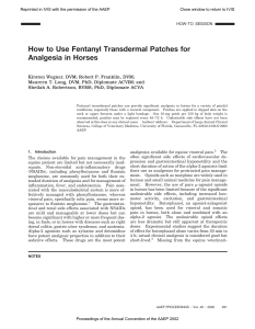 How to Use Fentanyl Transdermal Patches for Analgesia in