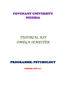 psy221 tutorial kit - Covenant University