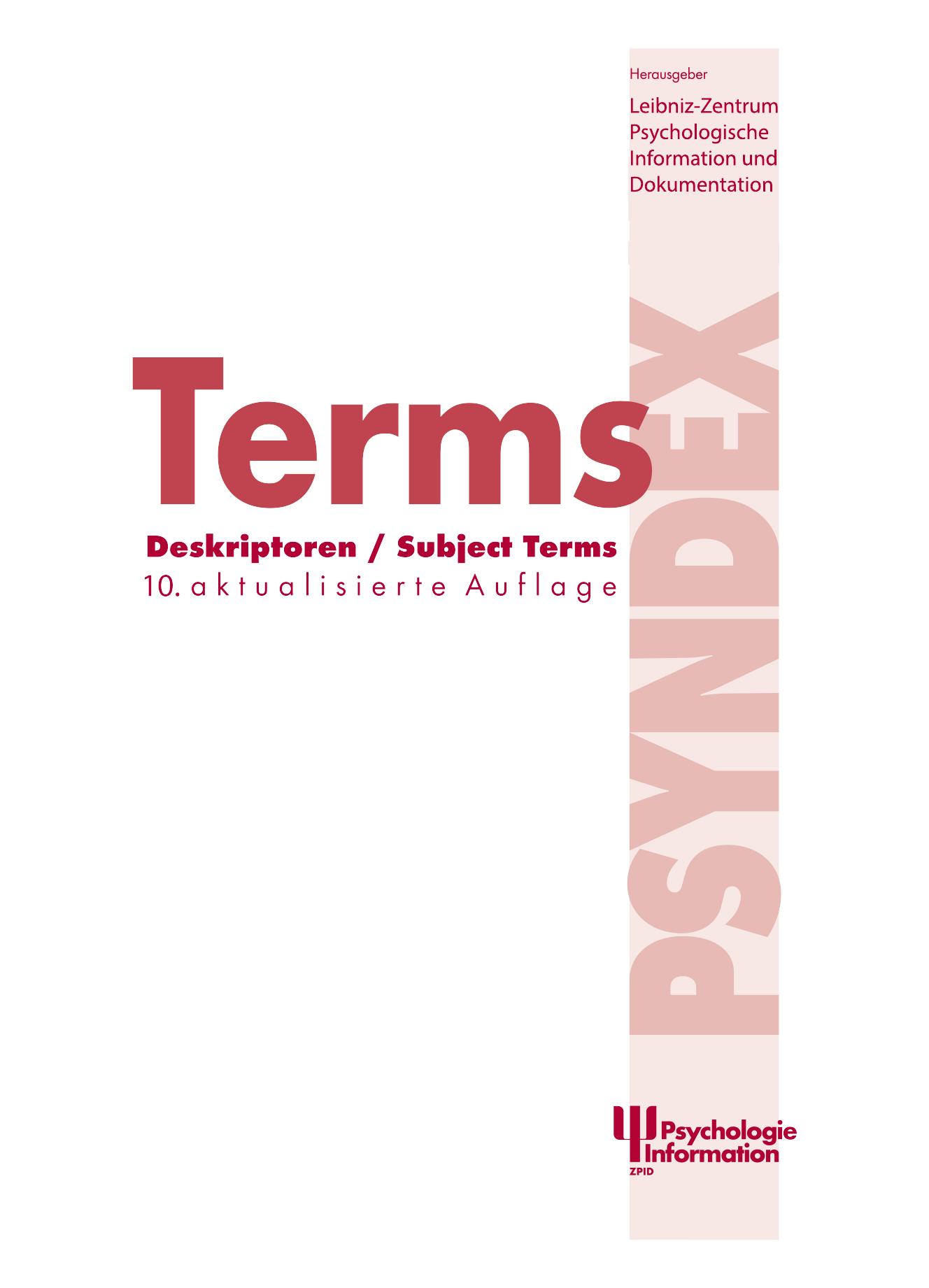 Deskriptoren / Subject Terms zur Datenbank PSYNDEX