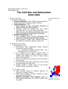 The Cold War and Nationalism 1945-2001