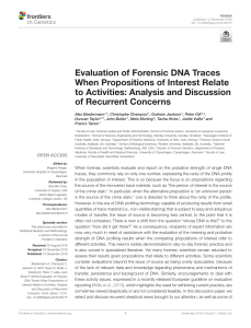 Evaluation of Forensic DNA Traces When Propositions of Interest