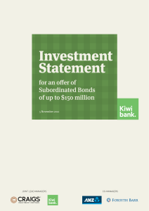 Investment Statement for Subordinated Bonds