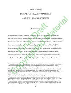 Gideon Manning DESCARTES` HEALTHY MACHINES AND THE