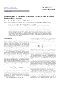 Measurement of the force exerted on the surface of an object