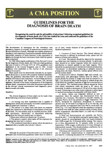GUIDELINES FORTHE DIAGNOSIS OF BRAIN DEATH