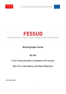 From Financialisation to Systems of Provision, Working