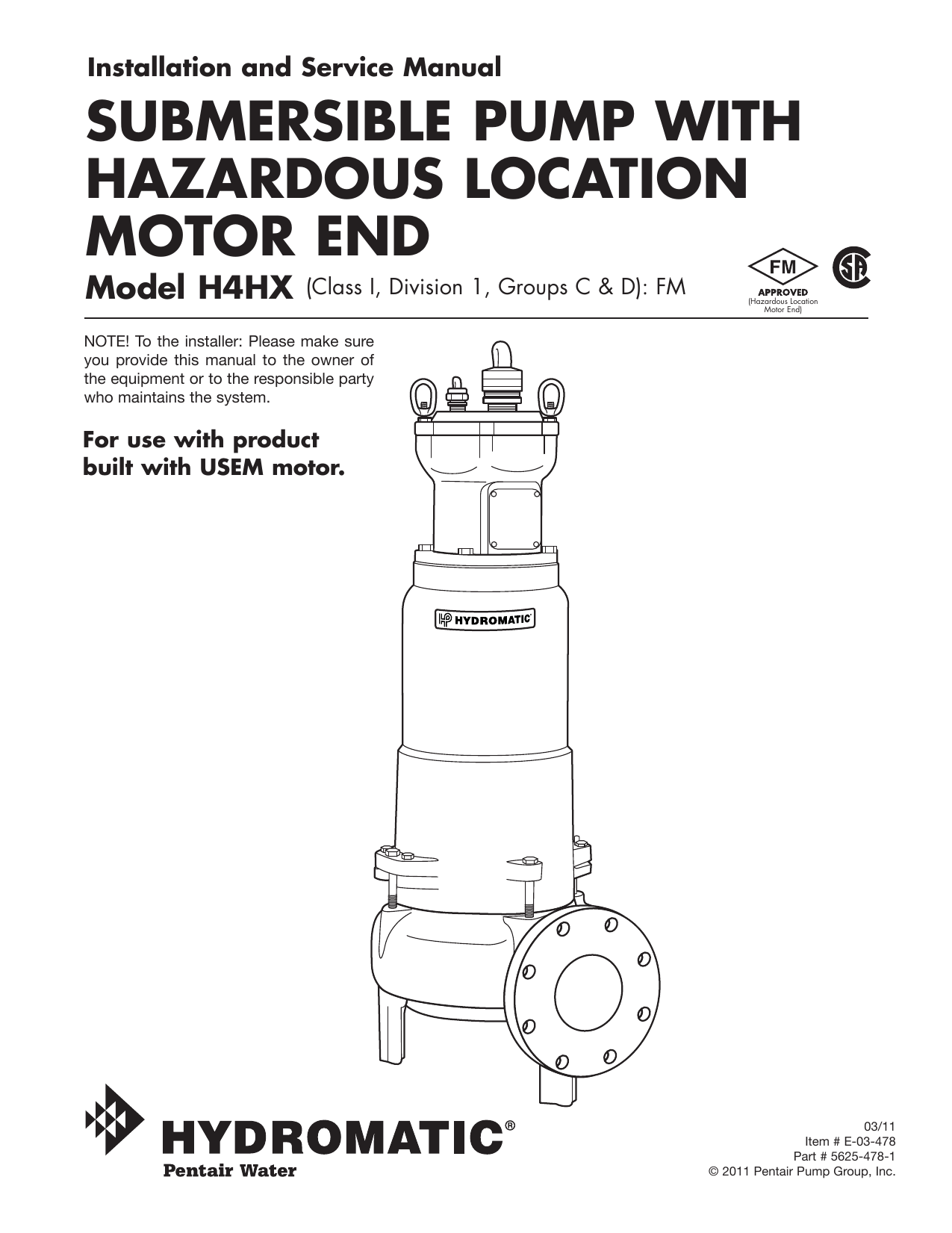 submersible pump with hazardous location motor end