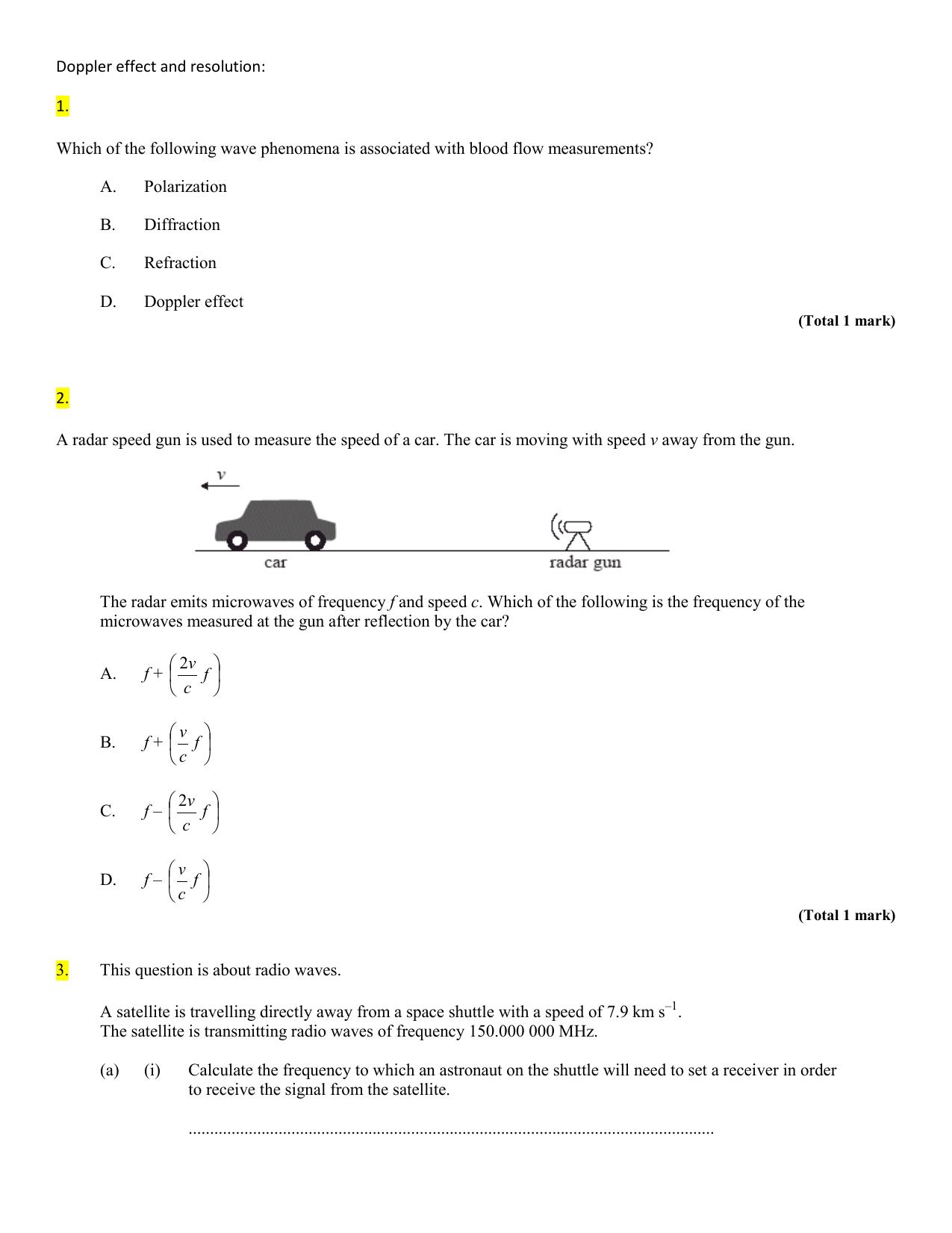 Doppler Effect And Resolution Worksheet