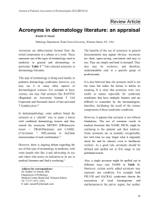Acronyms in dermatology literature: an appraisal