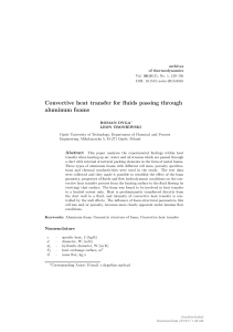 Convective heat transfer for fluids passing through