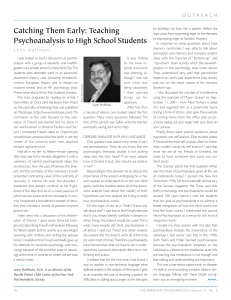 Teaching Psychoanalysis to High School Students