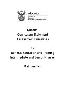 Mathematics - Department of Basic Education