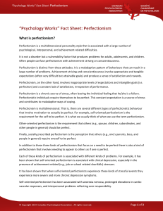 """Psychology Works"" Fact Sheet: Perfectionism"