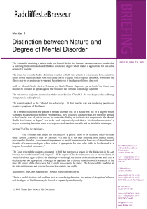 Distinction between Nature and Degree of Mental Disorder