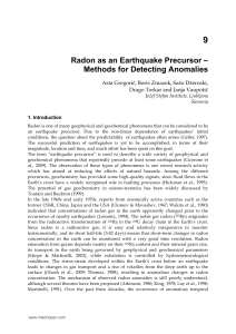Radon as an Earthquake Precursor – Methods