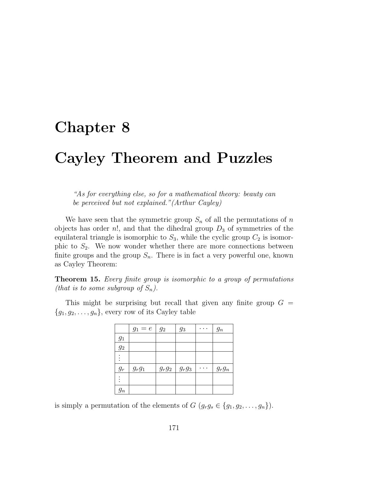 Chapter 8 Cayley Theorem and Puzzles