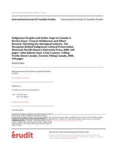 Indigenous Peoples and Settler Angst in Canada: A Review