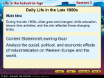 Daily Life in the Late 1800s Content Statement/Learning Goal