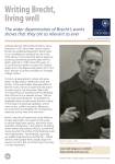 Writing Brecht, living well