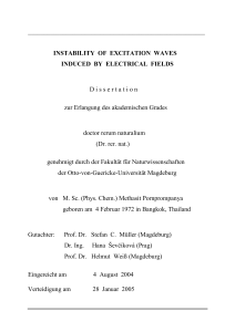 instability of excitation waves induced by electrical fields