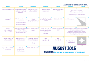 Monthly Maths -August