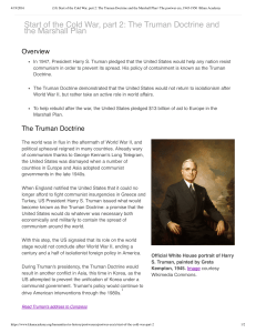 Start of the Cold War, part 2: The Truman Doctrine and the Marshall