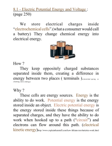 Electric Potential Energy and Voltage