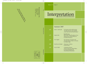 Summer 2007 - Interpretation: A Journal of Political Philosophy