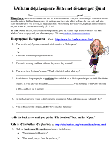 William Shakespeare William Shakespeare Internet Scavenger H