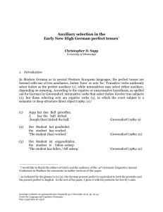 Auxiliary selection in the Early New High German perfect tenses