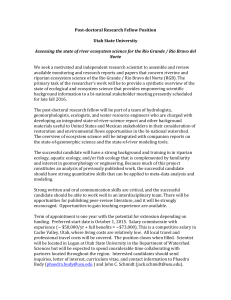 Post-‐doctoral Research Fellow Position Utah State University