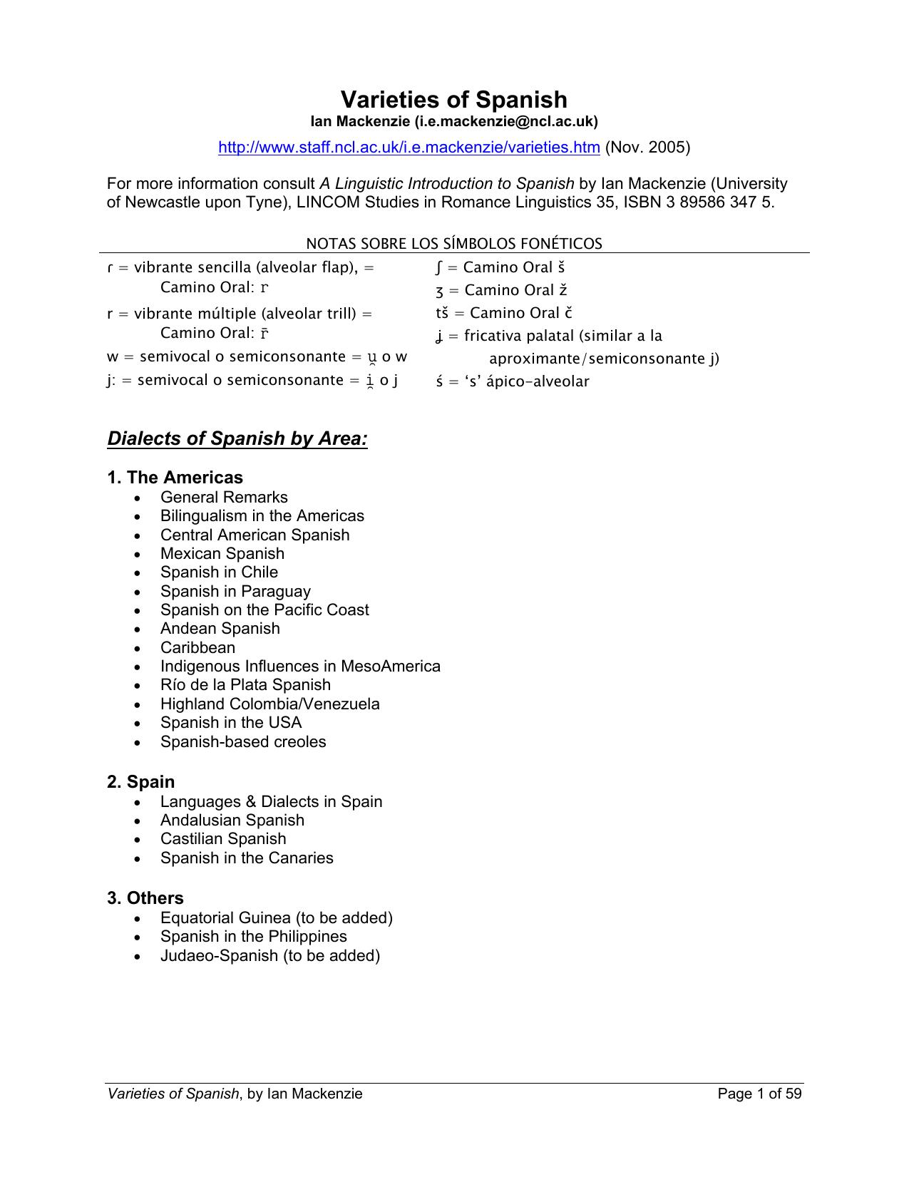 Varieties of Spanish - Language Resource Center