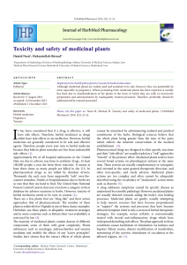 Toxicity and safety of medicinal plants