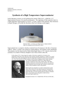 Synthesis of a High Temperature Superconductor