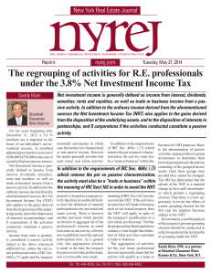 The regrouping of activities for RE professionals under the 3.8% Net