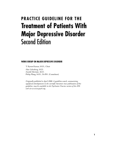 Treatment of Patients With Major Depressive