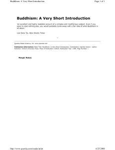 Buddhism A Very Short Introduction - Damien Keown