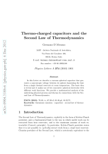 Thermo-charged capacitors and the Second Law of Thermodynamics
