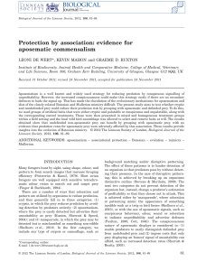 Protection by association: evidence for aposematic commensalism